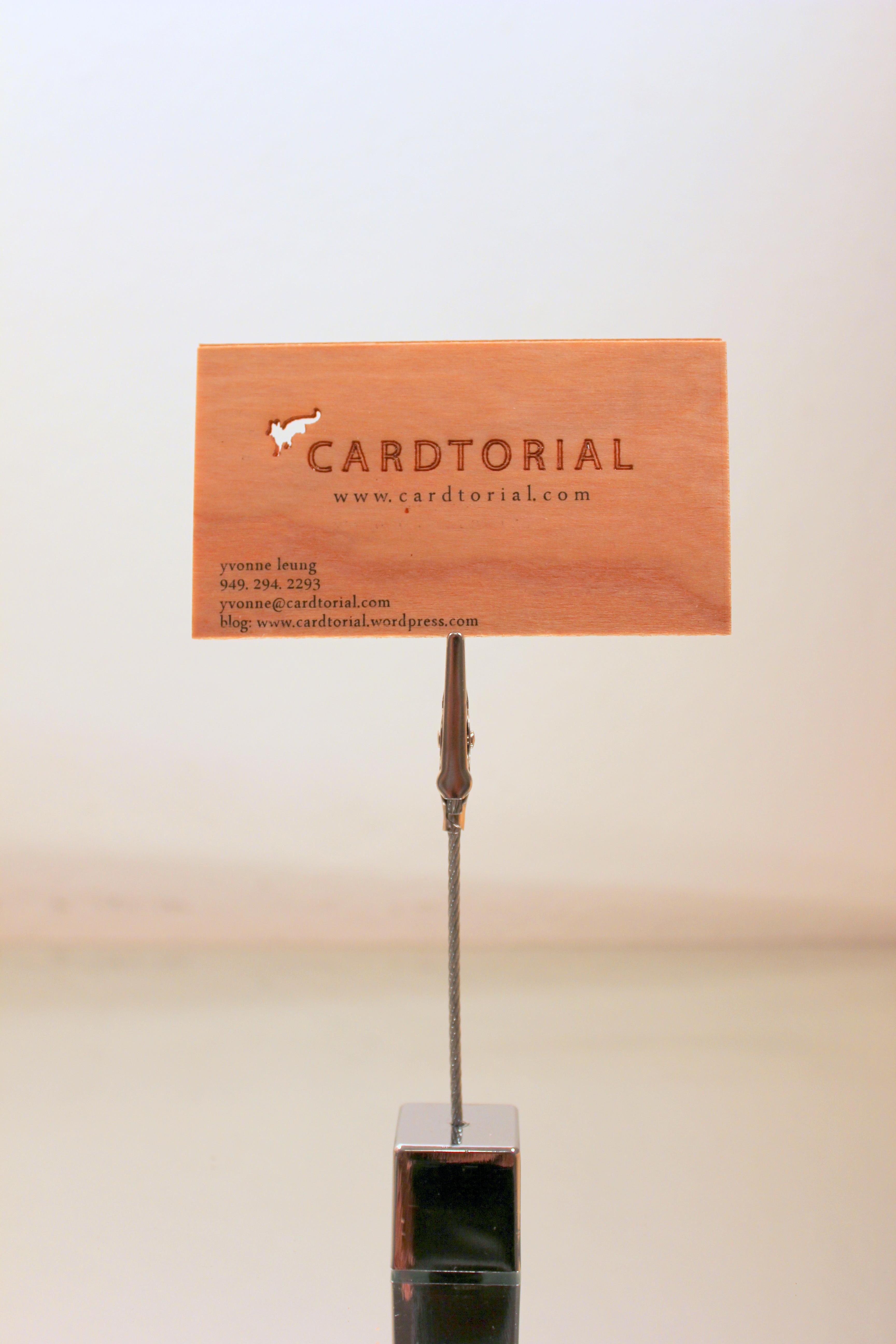 Cardtorial wood veneer laser cut business cards colourmoves