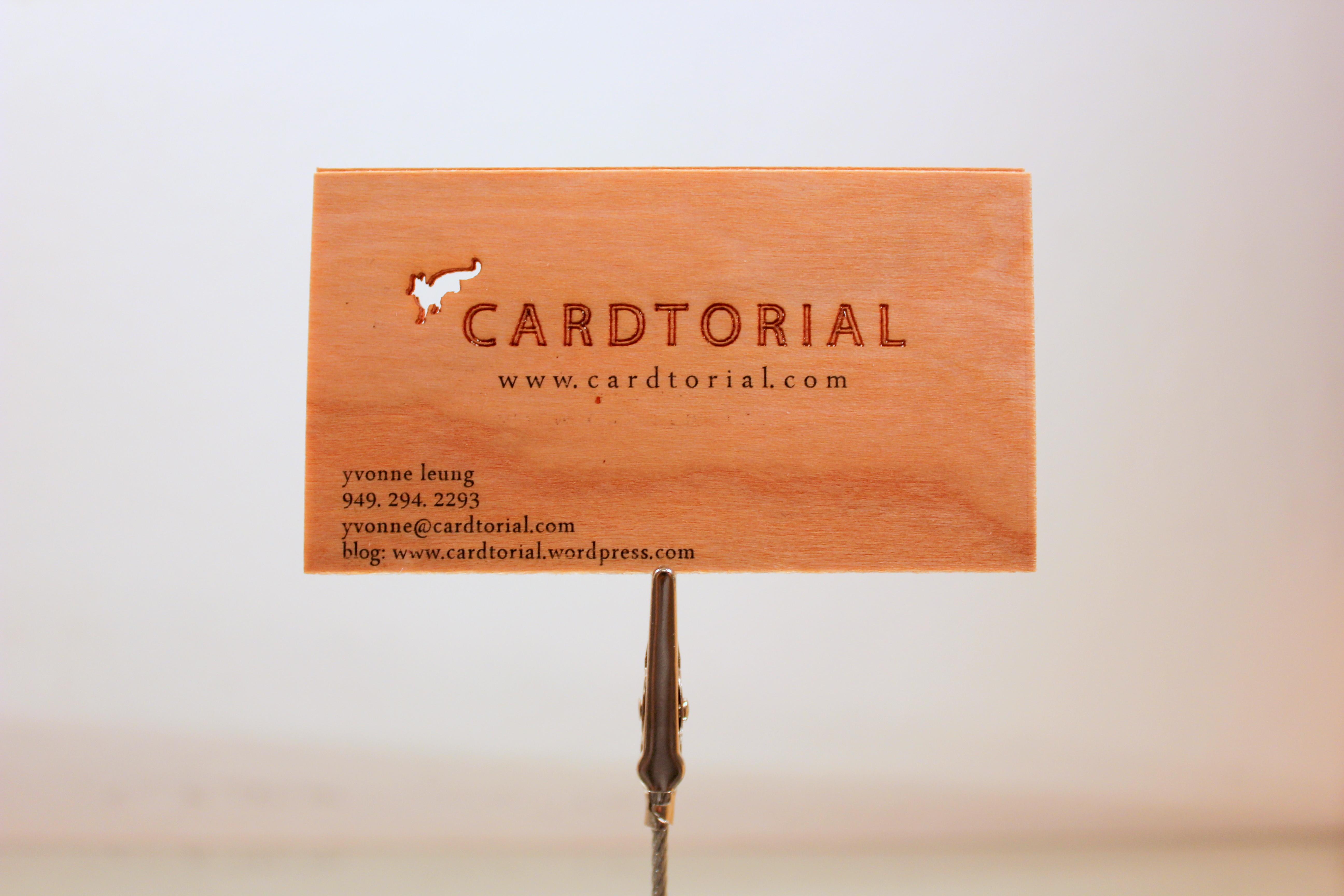 Cardtorial Wood Veneer, Laser Cut Business Cards!