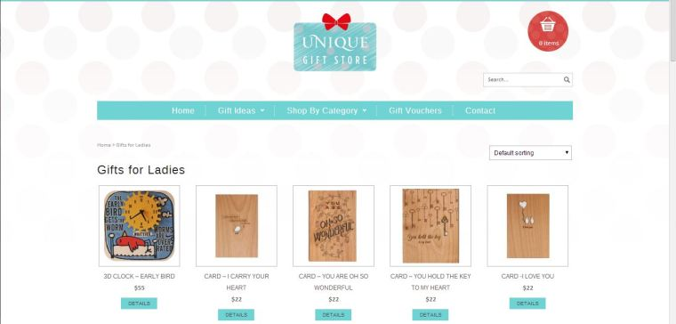 Snapshot of Unique Gift Store's website