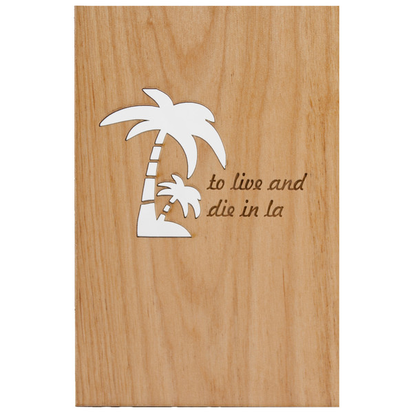 LA palm trees wood card