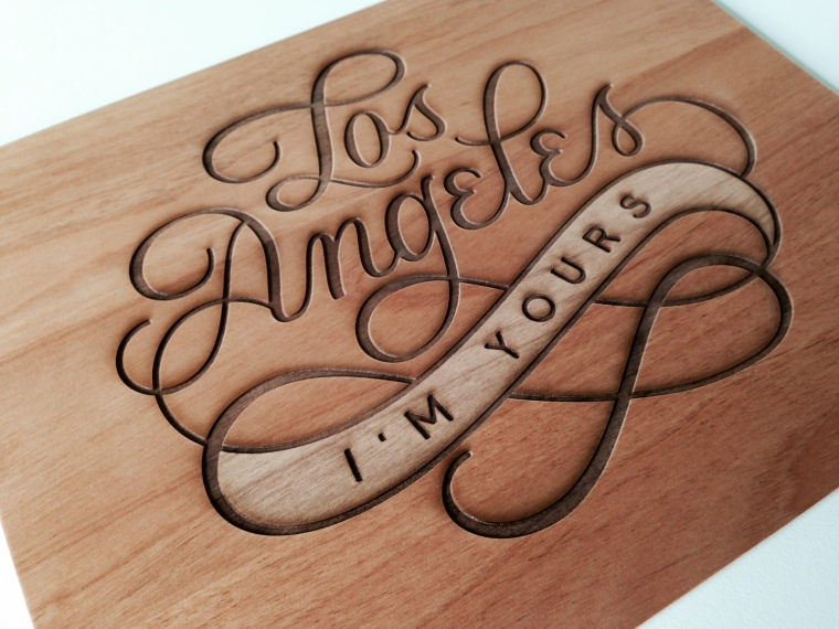 LA Lasercut Wood Print Cardtorial