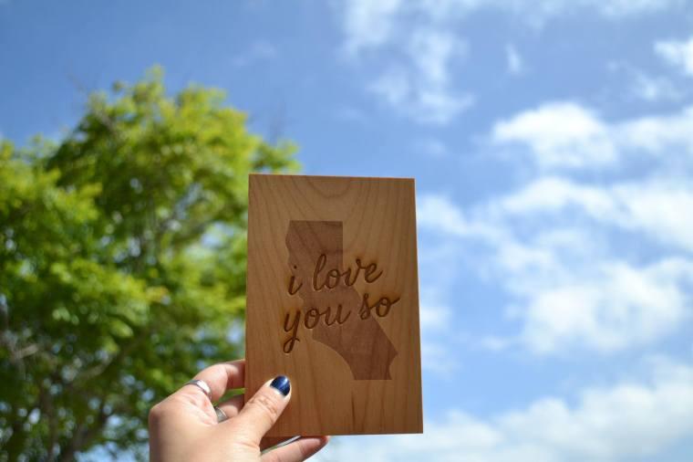 wooden California souvenir card