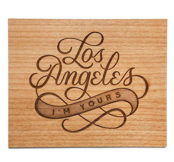 LA laser cut wood print