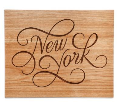 New York wood laser cut print