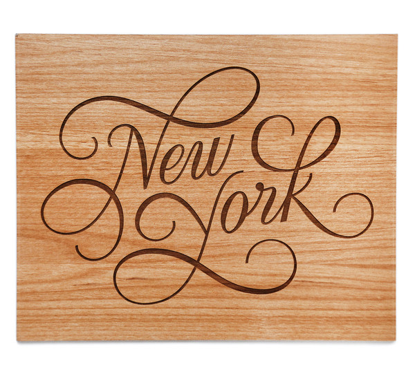 New York wood laser cut print