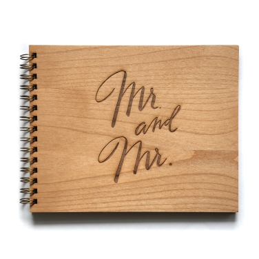 mr and mr wedding guestbook made of real wood